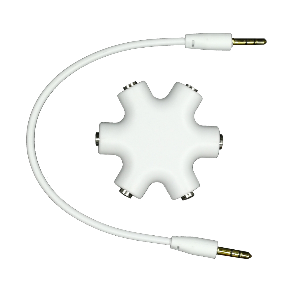 Multi Splitter Stereo - 6 Port / 5 Way - Hub & Cable - White