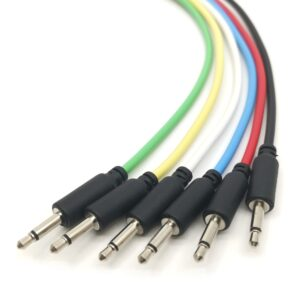 "6 Pack - Modular Patch Cables - Black Jack 3.5mm 1/8"" - Eurorack Synth"