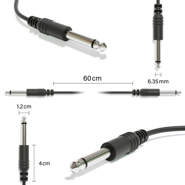 """1-Pack - Mono Instrument Guitar Cable - Patch Lead TS 6.35mm 1/4"""" [Black]"""