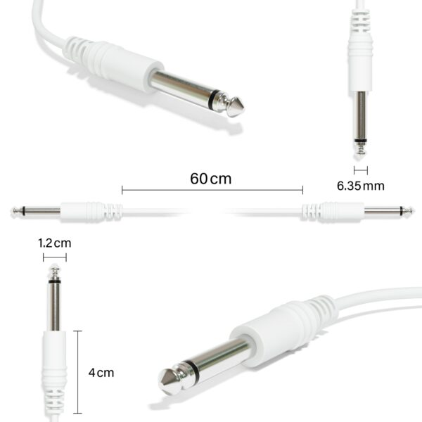 """1-Pack - Mono Instrument Guitar Cable - Patch Lead TS 6.35mm 1/4"""" [White]"""